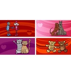 valentine cartoon greeting cards set vector image