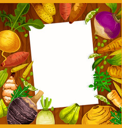 Vegetables and veggies cooking recipe blank vector
