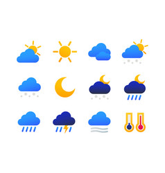 weather types symbols - set of flat design style vector image