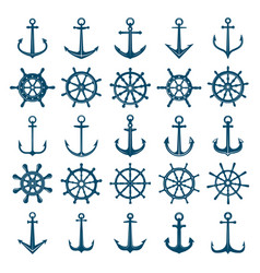 Wheels ship anchors icon steering wheels boat and vector