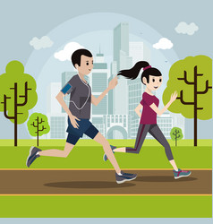 young man and woman jogging in the park vector image