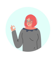 Young woman making positive ok hand gesture in vector