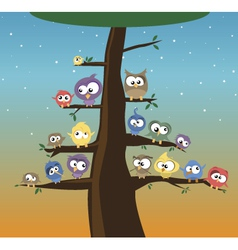 birds on a tree vector image