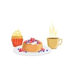 Cupcake Waffle And Coffee Breakfast Food Drink vector image vector image