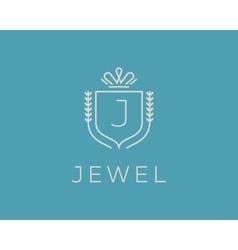 Elegant monogram letter J logotype Premium crest vector image vector image