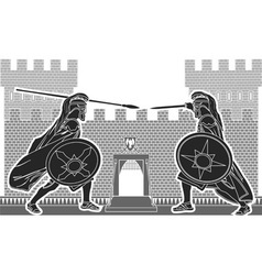fight of two knights vector image vector image