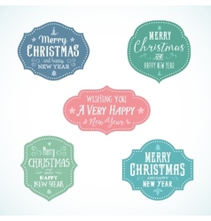 Vintage typography soft color christmas badges set vector