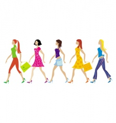 group of young ladies vector image vector image