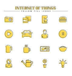 Internet of things and smart home yellow fill vector image