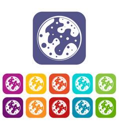 mars icons set flat vector image vector image