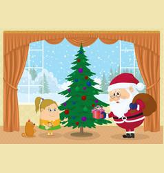 santa claus giving presents vector image
