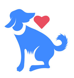 silhouette of blue dog with red heart isolated vector image vector image
