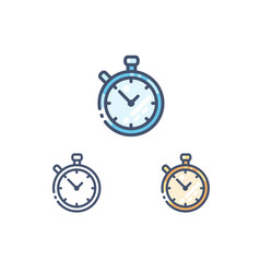 stopwatch line icons set vector image