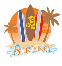 three surf board on a beach vector image vector image