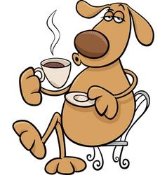 dog with coffeel cartoon vector image