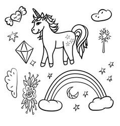 Doodle unicorn rainbow stars magic wand vector