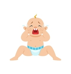 Little Baby Boy Sitting In Nappy Crying Out Loud vector image