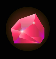 sparkling crystal in pink color isolated on black vector image