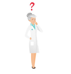 thinking senior doctor with question mark vector image vector image