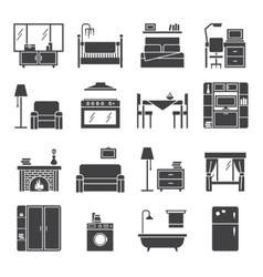 Interior And Furniture Icons Set vector image vector image