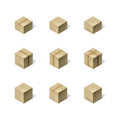 set of nine isometric cardboard boxes isolated on vector image