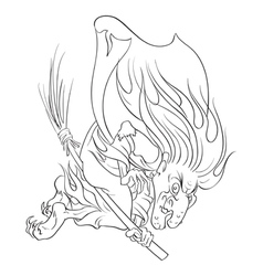 The old evil witch flying on a broomstick outlined vector image