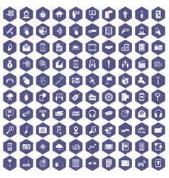 100 mobile icons hexagon purple vector