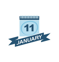 11 january calendar with ribbon vector
