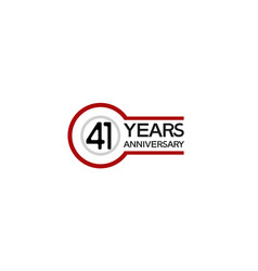 41 years anniversary with circle outline red vector