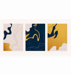 Abstract golden fluid lines style minimal poster vector