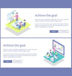 Achieve goal plans set posters vector
