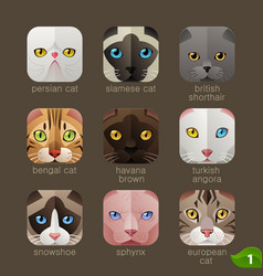 Animal faces for app icons-cats set vector