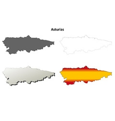 Asturias blank detailed outline map set vector image