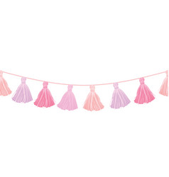 Baby girl pink hanging decorative tassels vector