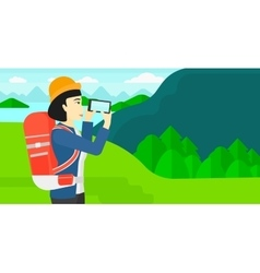 Backpacker taking photo vector