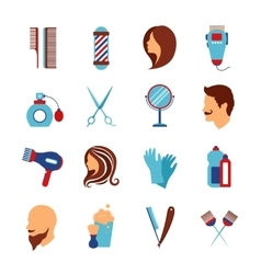 Barbershop hairdresser flat icons set vector