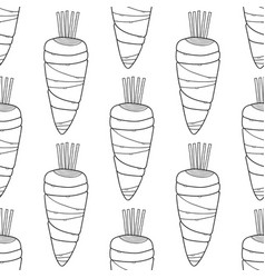 Black and white carrots seamless pattern for vector
