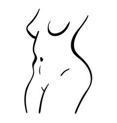 Black line plump woman body vector