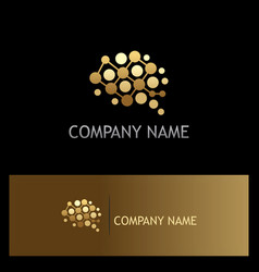 Brain dot technology gold logo vector