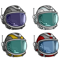 cartoon astronaut space helmet icon set vector image