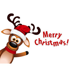 Christmas card with cute deer vector