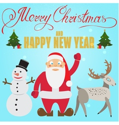 Christmas poster design with Santa Claus deer snow vector image