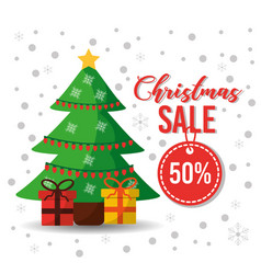 christmas sale tag offer tree gifts decoration vector image