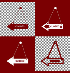 closed sign bordo and white vector image