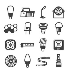 Collection led lamp equipment simple icon vector