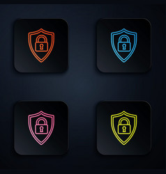 Color neon line shield security with lock icon on vector