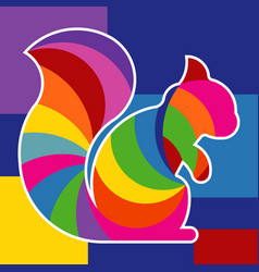 colorful squirrel design logo vector image