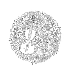 Coloring page with ornamental violin in circle vector image