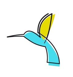 Colourful cartoon hummingbird vector image