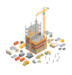 Construction multistory building concept 3d vector